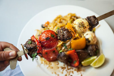 Chinese Beef and Veggie Brochettes