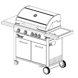 Fervor Grill Gas Grill Barbecue CL410 Outline Diagram